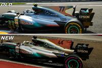 Mercedes F1 W08: Motorhauben-Finne, Vergleich