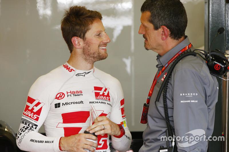 Romain Grosjean, Haas F1 Team, Guenther Steiner, Team Principal, Haas F1 Team
