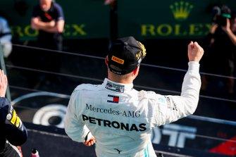 Valtteri Bottas, Mercedes AMG F1, 1st position, celebrates on the podium