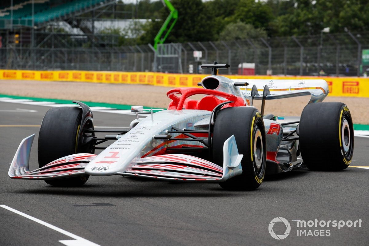 The 2022 F1 car unveiled at Silverstone.