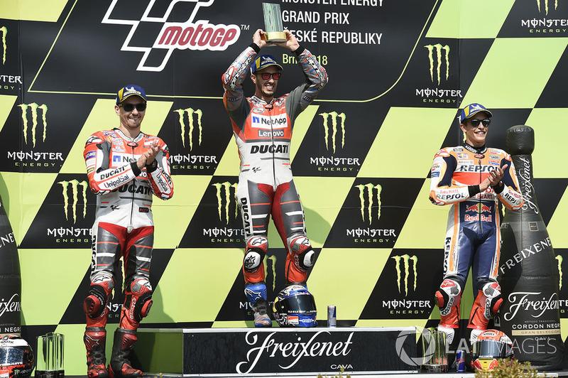 Podio: 1º Andrea Dovizioso, Ducati Team, 2º Jorge Lorenzo, Ducati Team, 3º Marc Marquez, Repsol Honda Team