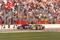 Dale Earnhardt takes the victory ahead of Bobby Labonte