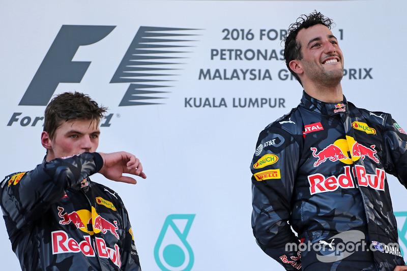 Podium: Second place Max Verstappen, Red Bull Racing and race winner Daniel Ricciardo, Red Bull Raci