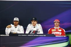 Pressekonferenz: Polesitter Nico Rosberg, Mercedes AMG, 2. Lewis Hamilton, Mercedes AMG, 3. Kimi Räikkönen, Ferrari