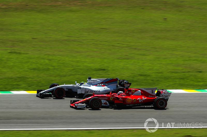 Sebastian Vettel, Ferrari SF70H and Felipe Massa, Williams FW40