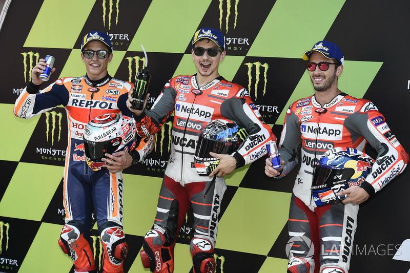 Marc Marquez, Repsol Honda Team, Jorge Lorenzo, Ducati Team, Andrea Dovizioso, Ducati Team