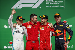 Valtteri Bottas, Mercedes AMG F1, 2nd position, Nicola Bariselli, Race Engineer, Ferrari, Sebastian Vettel, Ferrari, 1st position, and Max Verstappen, Red Bull Racing, 3rd position, on the podium