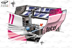 Detalle del alerón trasero del doble T wing del Force India VJM11