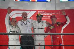 Valtteri Bottas, Mercedes-AMG F1, Dr. Dieter Zetsche, CEO of Daimler AG, Lewis Hamilton, Mercedes-AMG F1 and Kimi Raikkonen, Ferrari celebrate on the podium