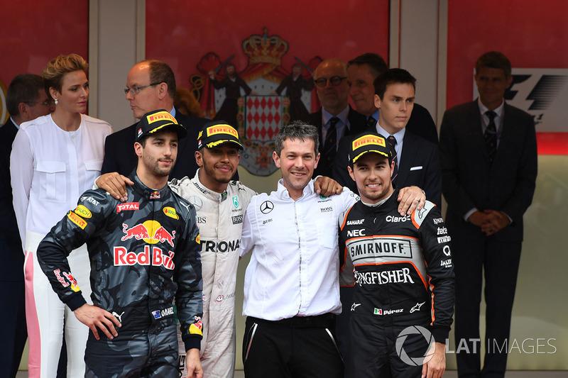 Podium: 1. Lewis Hamilton, Mercedes; 2. Daniel Ricciardo, Red Bull; 3. Sergio Perez