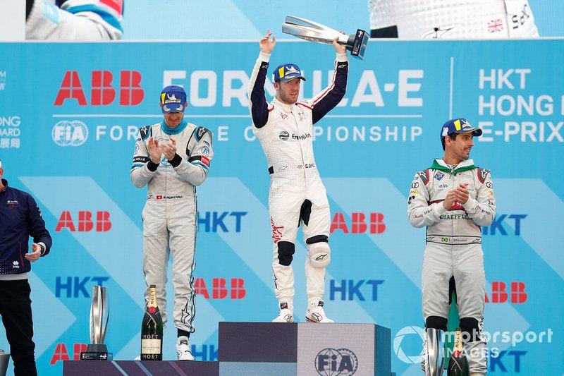 Ganador, Sam Bird, Envision Virgin Racing celebra con Edoardo Mortara, Venturi Formula E, Lucas Di Grassi, Audi Sport ABT Schaeffler