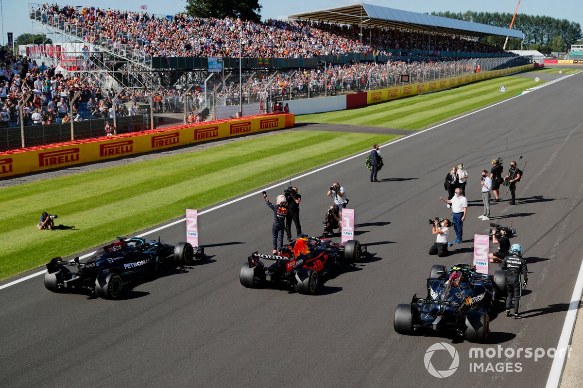 Max Verstappen, Red Bull Racing, 1st position, celebrates after winning the sprint race