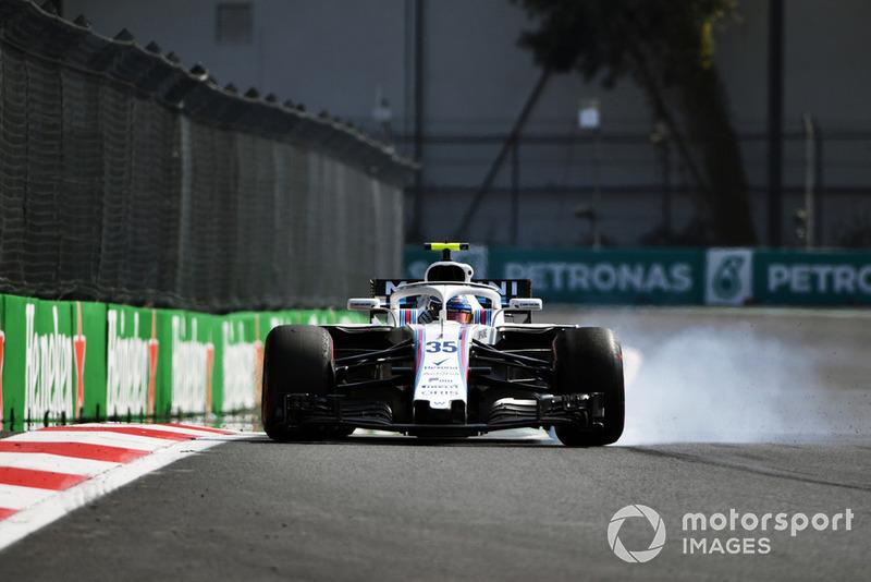 Sergey Sirotkin, Williams FW41, va al bloccaggio nelle FP2