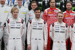 Porsche Team drivers at the group photograph (L to R): Brendon Hartley; Mark Webber; Timo Bernhard