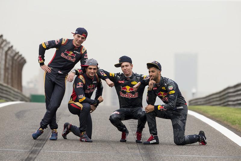 Daniel Ricciardo, Red Bull Racing, Daniil Kvyat, Red Bull Racing, Max Verstappen, Scuderia Toro Rosso y Carlos Sainz Jr., Scuderia Toro Rosso