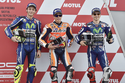 Polesitter Marc Marquez, Repsol Honda Team, second place Valentino Rossi, Yamaha Factory Racing, third place Jorge Lorenzo, Yamaha Factory Racing