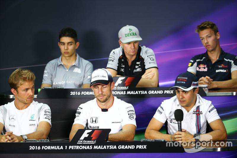 The FIA Press Conference: Esteban Ocon, Manor Racing; Nico Hulkenberg, Sahara Force India F1; Daniil Kvyat, Scuderia Toro Rosso; Nico Rosberg, Mercedes AMG F1; Jenson Button, McLaren; Felipe Massa, Williams