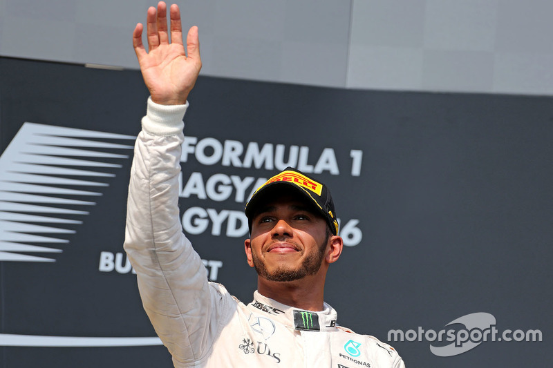 Podium: winner Lewis Hamilton, Mercedes AMG F1 Team