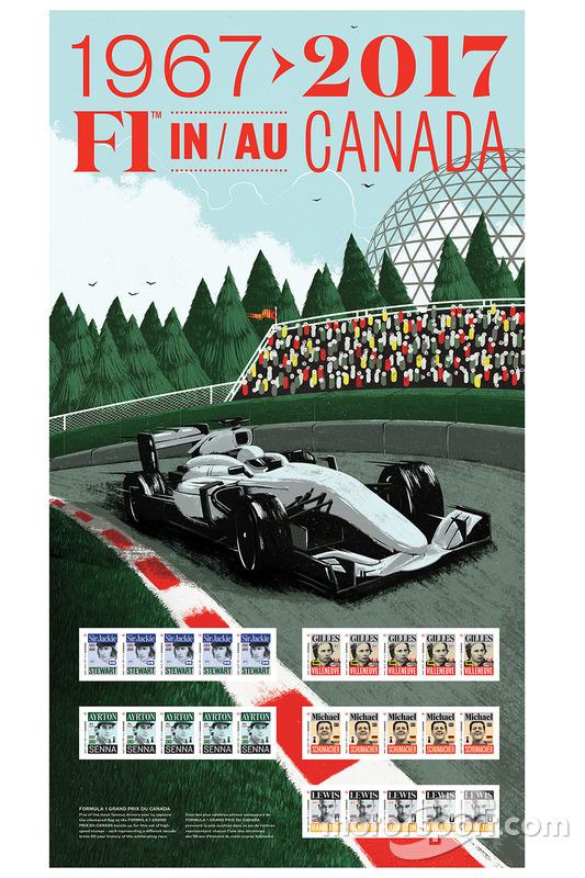 Sellos de Correo de Sir Jackie Stewart, Gilles Villeneuve, Ayrton Senna, Michael Schumacher y Lewis Hamilton