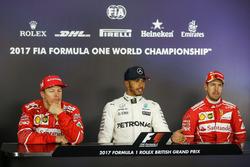Kimi Raikkonen, Ferrari, pole sitter Lewis Hamilton, Mercedes AMG F1 and Sebastian Vettel, Ferrari in the Press Conference