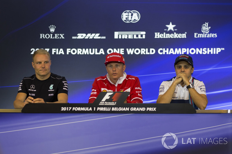 Valtteri Bottas, Mercedes AMG F1 Kimi Raikkonen, Ferrari and Felipe Massa, Williams in the Press Conference