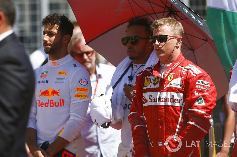 Daniel Ricciardo, Red Bull Racing, Lewis Hamilton, Mercedes AMG F1, Kimi Raikkonen, Ferrari
