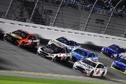 Trevor Bayne, Roush Fenway Racing Ford, Kevin Harvick, Stewart-Haas Racing Ford and Martin Truex Jr., Furniture Row Racing Toyota
