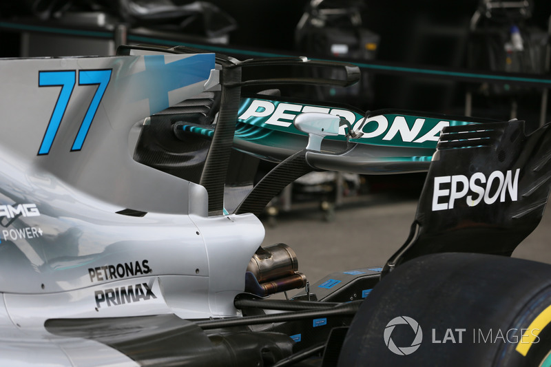 The rear wing detail of Valtteri Bottas, Mercedes-Benz F1 W08
