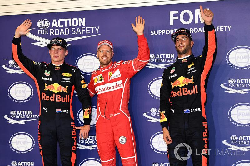 Polesitter Sebastian Vettel, Ferrari; 2. Max Verstappen, Red Bull Racing; 3. Daniel Ricciardo, Red B