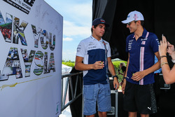 Lance Stroll, Williams and Esteban Ocon, Sahara Force India