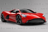 Aston Martin orta-motorlu spor aracı illüstrasyonu