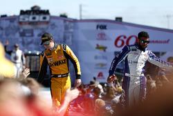Erik Jones, Joe Gibbs Racing Toyota Camry, Darrell Wallace Jr., Richard Petty Motorsports Chevrolet Camaro