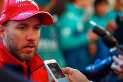 Nick Heidfeld, Mahindra Racing, talks to the press