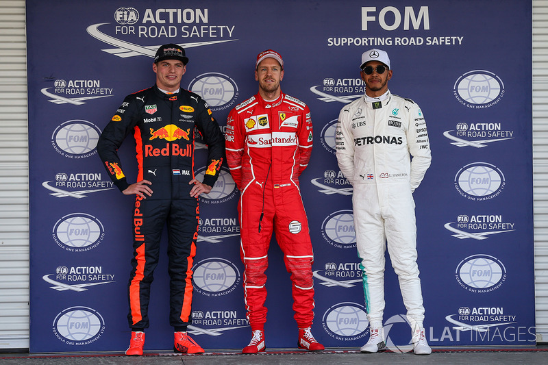 Pole, Sebastian Vettel, Ferrari, segundo, Max Verstappen, Red Bull Racing, tercero, Lewis Hamilton, Mercedes AMG F5