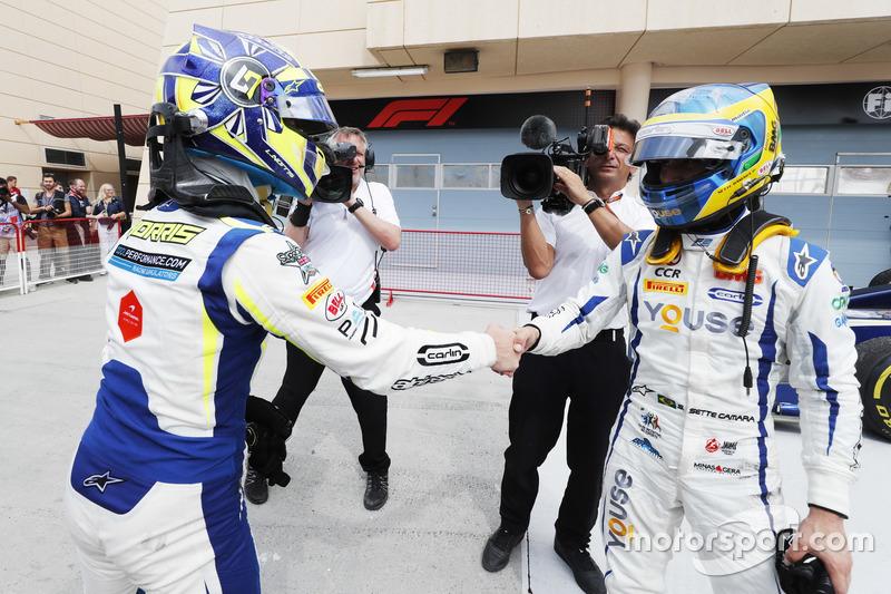 Race winner Lando Norris, Carlin and Sergio Sette Camara, Carlin