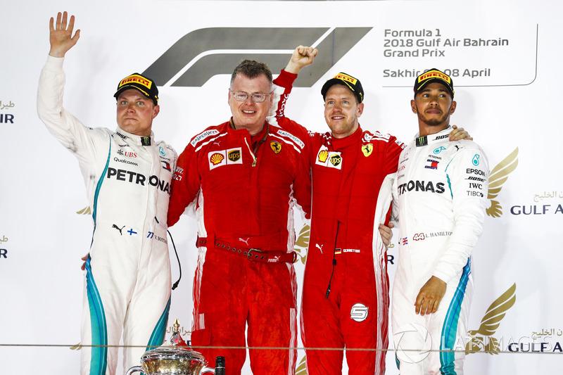 Valtteri Bottas, Mercedes AMG F1, 2nd position, Sebastian Vettel, Ferrari, 1st position, and Lewis H