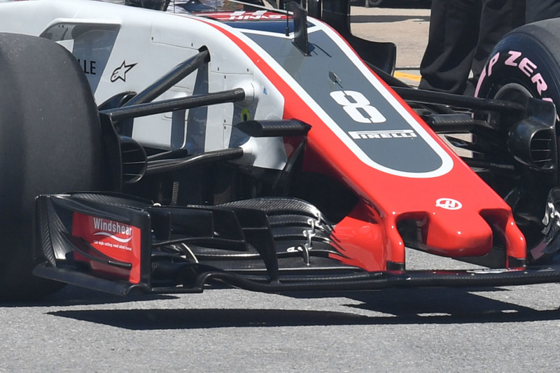 Haas F1 Team VF-18, ala anteriore