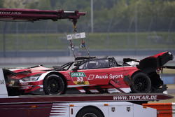 The car of René Rast, Audi Sport Team Rosberg after the crash