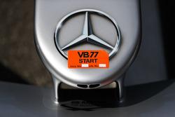A Mercedes logo on the Valtteri Bottas Mercedes AMG F1 W09