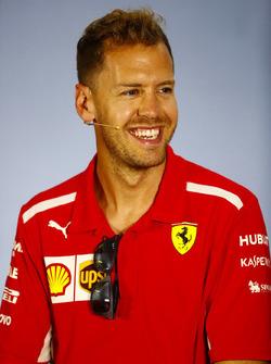 Sebastian Vettel, Ferrari, in the Press conference