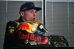 Max Verstappen, Red Bull Racing with helmet and steering wheel