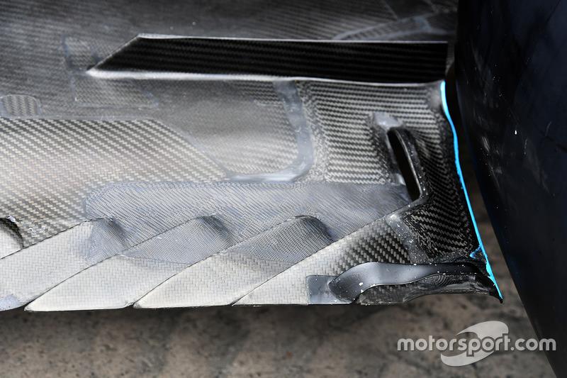 L'arrière du fond plat de la Mercedes-Benz F1 W08