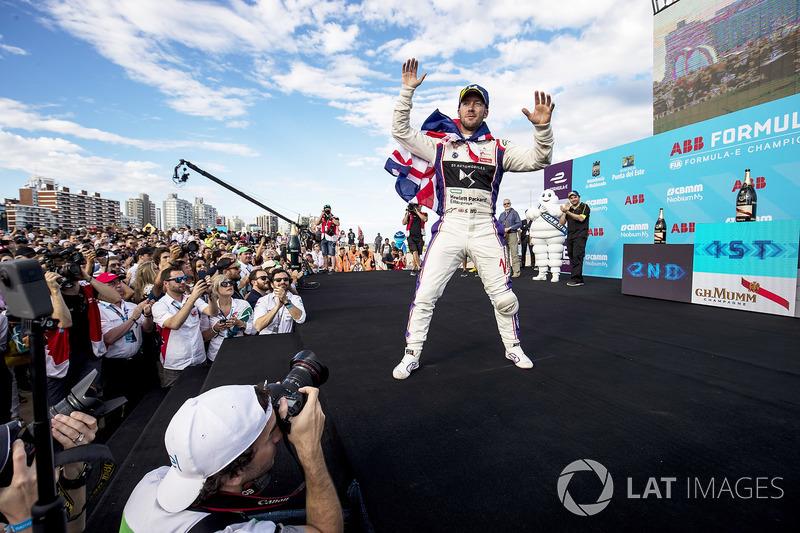 Sam Bird, DS Virgin Racing, celebrates on the podium