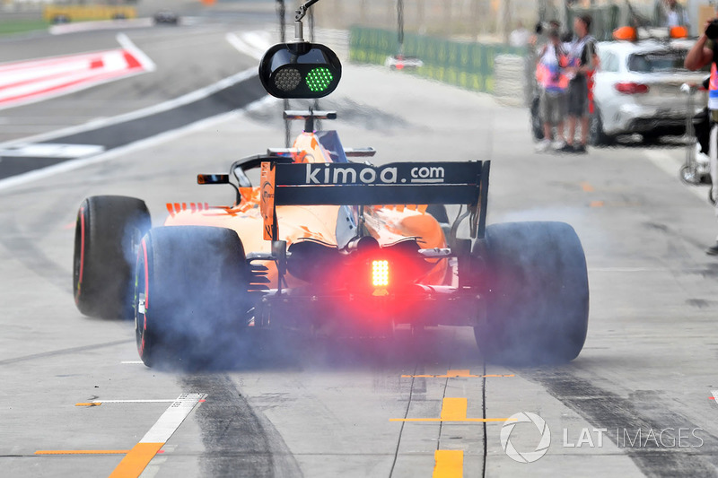Fernando Alonso, McLaren MCL33 and tyre smoke
