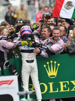 Sergio Perez, Force India celebrates i n parc ferme