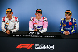 race winner Maximilian Gunther, BWT Arden, second place George Russell, ART Grand Prix, third place Lando Norris, Carlin