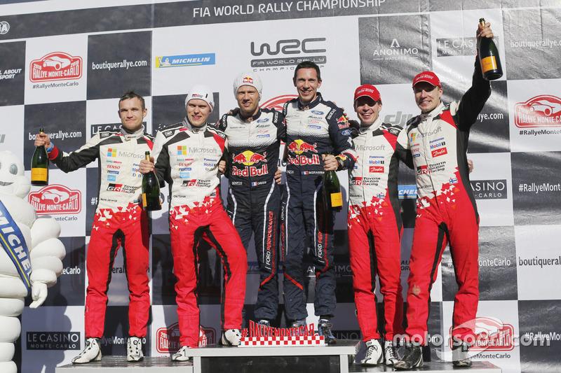 Podio: los ganadores del Rally de MonteCarlo 2018 Sébastien Ogier y Julien Ingrassia, M-Sport Ford, el segundo Ott Tanak, Martin Järveoja, Toyota Gazoo Racing, el tercero Jari-Matti Latvala, Miikka Anttila, Toyota Gazoo Racing