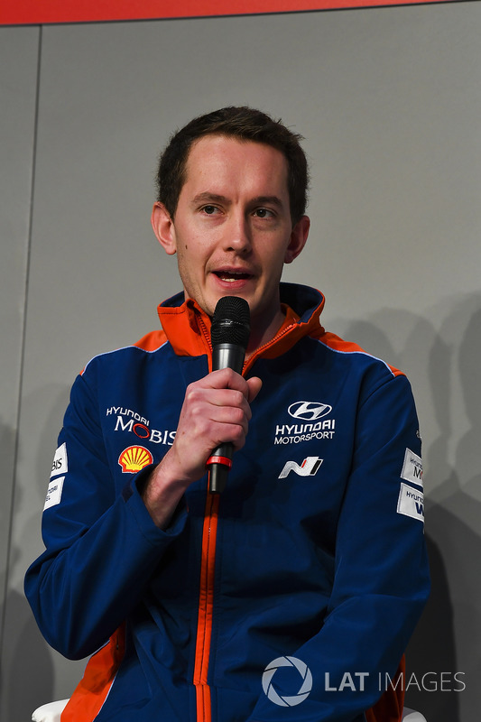 Hyundai WRC driver Hayden Paddon and co-driver Sebastian Marshall  meet Henry Hope-Frost on the Autosport Stage