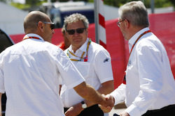 Ross Brawn, Managing Director of Motorsports, FOM, meets some officials