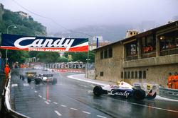 Stefan Bellof, Tyrrell 012-Ford, chases Rene Arnoux and Ayrton Senna